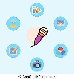 jelkép, ikon, aláír, vektor, mikrofon