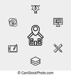 jelkép, ikon, aláír, vektor, otthon