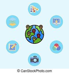 jelkép, ikon, elhelyezés, aláír, vektor