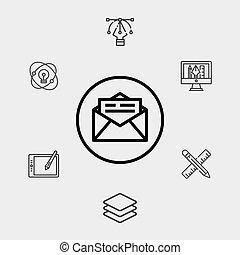 jelkép, ikon, felad, aláír, vektor