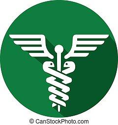 jelkép, ikon, orvosi, lakás, pusztulásnak indult