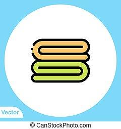 jelkép, ikon, törülköző, aláír, lakás, vektor