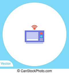 jelkép, ikon, vektor, lakás, aláír, mikrohullám