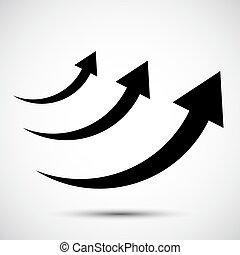 jelkép, ikon, white háttér, black nyílvesszö