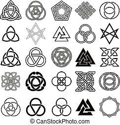 jelkép, ikonok, állhatatos, vector., tetovál