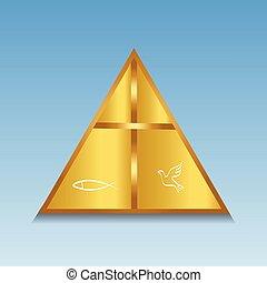 jelkép, jel, kereszt, arany-, keresztény