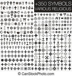 jelkép, különféle, 350, vektor, religio
