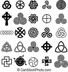 jelkép, kelta, állhatatos, vector., ikonok