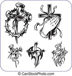 jelkép, keresztény, vektor, -, illustration.