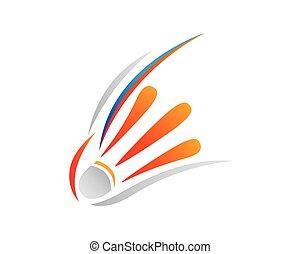 jelkép, kreatív, ábra, színes, tollaslabda