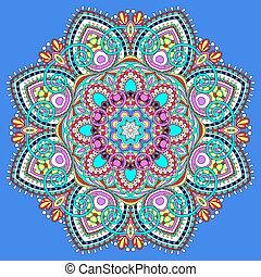 jelkép, lelki, indiai, dekoratív, karika, mandala, lótusz, folyik