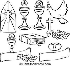 jelkép, lelki közösség, vektor, -, jámbor