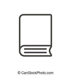 jelkép., library előjegyez, vector., egyenes, ikon