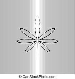 jelkép, marihuána, vektor, fekete, egyenes, ikon