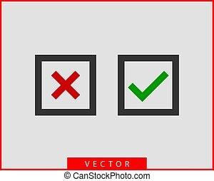 jelkép, megjelöl, vektor, tervezés, ellenőriz, element., ikon