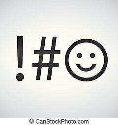 jelkép, modern, elszigetelt, ábra, háttér., vektor, kulcs, billentyűzet, icon.