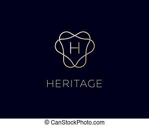jelkép., monogram, logotype., abc, fényűzés, gradiens, címer, h, finom, bélyeg, levél, logo., jutalom, lineáris, vektor, ikon, keret