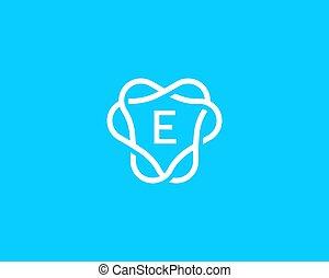 jelkép., monogram, logotype., abc, kreatív, címer, kelet, levél, lineáris, általános, jel, vektor, ikon, keret