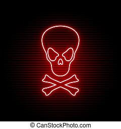 jelkép, neon, koponya