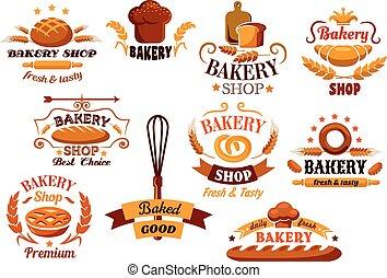 jelkép, pékség, bread, szalagcímek, vagy