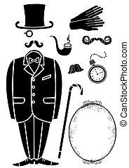 jelkép, retro, fekete, accessories., illeszt, elszigetelt, vektor, tervezés, úriember