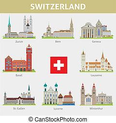 jelkép, switzerland., állhatatos, cities., vektor