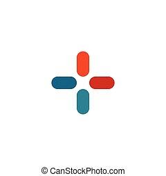 jelkép, színes, aláír, elvont, modern, kereszt, ábra, elszigetelt, háttér., összead, vektor, tervezés, gyógyszertár, ikon, plusz, geometriai alakzat, fehér, jel