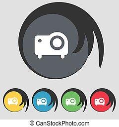 jelkép, színezett, buttons., ikon, vetítőgép, vektor, cégtábla., öt