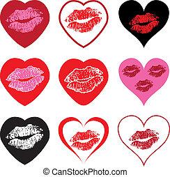 jelkép, szív, csókol, állhatatos, vektor
