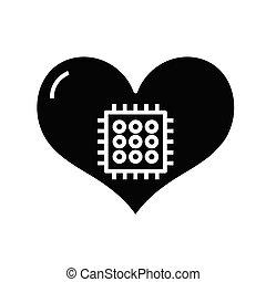 jelkép, szív, ikon, vektor, ábra, fekete, lakás, glyph, fogalom, cégtábla., tech
