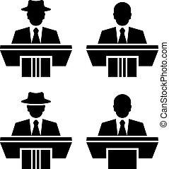 jelkép, szónok, vektor, beszélő, fekete