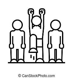 jelkép, személy, egyenes, áttekintés, aktivál, aláír, illustration., lineáris, vektor, fogalom, icon.