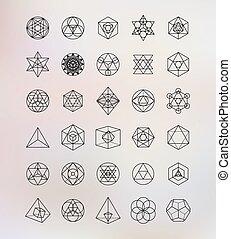 jelkép, szent, geometry., alkímia, csípőre szabott