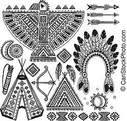 jelkép, törzsi, állhatatos, amerikai, bennszülött
