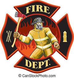 jelkép, tűzoltó, belső, kereszt