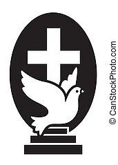 jelkép, templom, vektor, kereszt, jel, elszigetelt, bizalom, szeret, keresztények, repülés, galamb, lakás, remény, lépcsősor., ikon, modern, jesus.