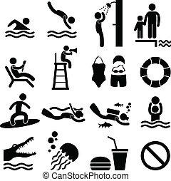 jelkép, tenger, úszás, tengerpart, pocsolya, ikon