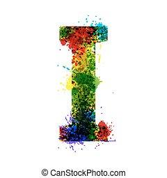 jelkép, tervező, alphabet., levél, festék, szín, háttér., elszigetelt, vízfestmény, gradiens, dekoráció, vektor, splashes., font., tinta, fehér