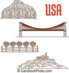 jelkép, városnézés, amerikai, iránypont, természet