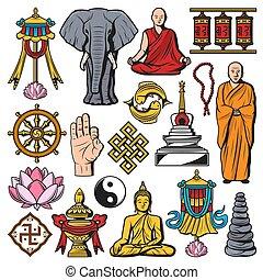 jelkép, vallás, buddhizmus, vektor, elszigetelt