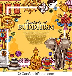 jelkép, vallás, buddhizmus, vektor, poszter