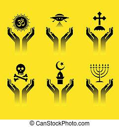 jelkép, vallás, kézbesít