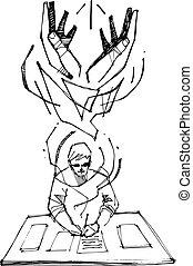 jelkép, vallásos, dolgozó, ember