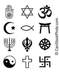 jelkép, vallásos, fehér, fekete, &