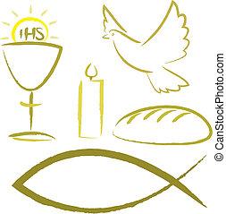 jelkép, vallásos, -, jámbor, lelki közösség
