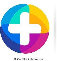 jelkép., vektor, button., emblem., segély, először, plusz, icon., logo., kerek, label., kereszt, színes, orvos, mentőautó, cégtábla., orvosi, vallásos, hivatal