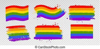 jelkép, vektor, gyűjtés, lgbt, szín, lobogó