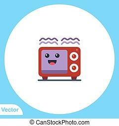 jelkép, vektor, ikon, aláír, lakás, mikrohullám