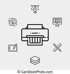 jelkép, vektor, ikon, aláír, nyomdász