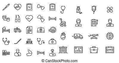 jelkép, vektor, ikon, kórház, orvosi, gyűjtés